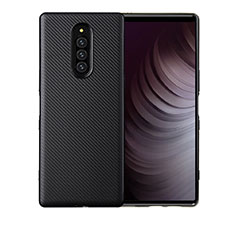 Silicone Candy Rubber TPU Twill Soft Case Cover T01 for Sony Xperia 1 Black