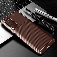 Silicone Candy Rubber TPU Twill Soft Case Cover Y01 for Huawei Honor X10 5G Brown
