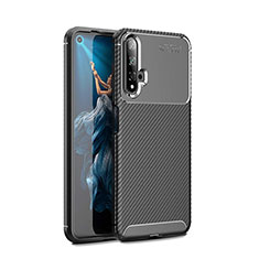 Silicone Candy Rubber TPU Twill Soft Case Cover Y01 for Huawei Nova 5T Black