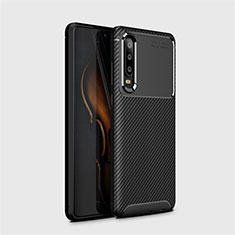 Silicone Candy Rubber TPU Twill Soft Case Cover Y01 for Huawei P30 Black