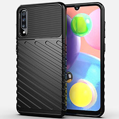 Silicone Candy Rubber TPU Twill Soft Case Cover Y01 for Samsung Galaxy A70 Black