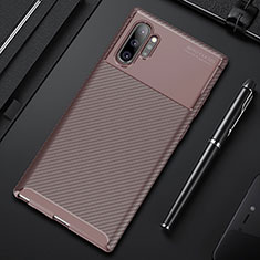 Silicone Candy Rubber TPU Twill Soft Case Cover Y01 for Samsung Galaxy Note 10 Plus 5G Brown
