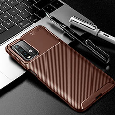Silicone Candy Rubber TPU Twill Soft Case Cover Y01 for Xiaomi Poco M3 Brown