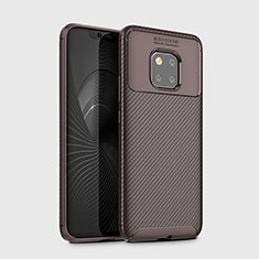 Silicone Candy Rubber TPU Twill Soft Case Cover Y02 for Huawei Mate 20 Pro Brown