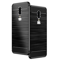Silicone Candy Rubber TPU Twill Soft Case for OnePlus 6 Black