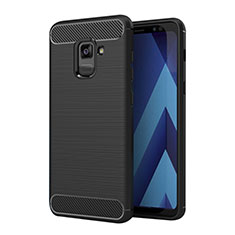 Silicone Candy Rubber TPU Twill Soft Case for Samsung Galaxy A5 (2018) A530F Black