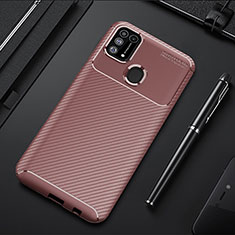 Silicone Candy Rubber TPU Twill Soft T01 Case Cover for Samsung Galaxy M21s Brown