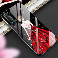 Silicone Frame Dress Party Girl Mirror Case Cover for Huawei P40 Pro+ Plus Red