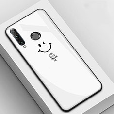 Silicone Frame Fashionable Pattern Mirror Case Cover for Huawei Enjoy 9s White