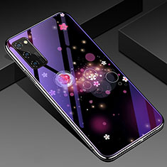 Silicone Frame Fashionable Pattern Mirror Case Cover for Huawei Honor View 30 Pro 5G Purple
