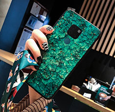 Silicone Frame Fashionable Pattern Mirror Case Cover for Huawei Mate 20 Green