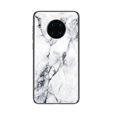 Silicone Frame Fashionable Pattern Mirror Case Cover for Huawei Mate 30 Pro 5G White