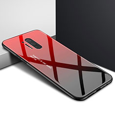 Silicone Frame Fashionable Pattern Mirror Case Cover for OnePlus 8 Pro Red