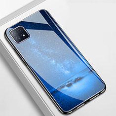 Silicone Frame Fashionable Pattern Mirror Case Cover for Oppo A72 5G Blue