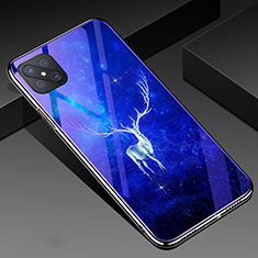 Silicone Frame Fashionable Pattern Mirror Case Cover for Oppo Reno4 Z 5G Blue
