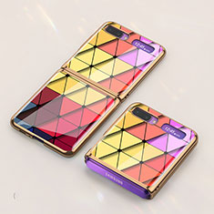 Silicone Frame Fashionable Pattern Mirror Case Cover for Samsung Galaxy Z Flip 5G Colorful