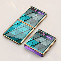 Silicone Frame Fashionable Pattern Mirror Case Cover for Samsung Galaxy Z Flip Cyan