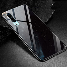 Silicone Frame Fashionable Pattern Mirror Case Cover K01 for Huawei P30 Black