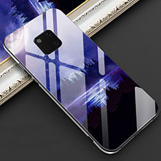 Silicone Frame Fashionable Pattern Mirror Case Cover K02 for Huawei Mate 20 Pro Blue