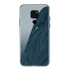 Silicone Frame Fashionable Pattern Mirror Case Cover S01 for Huawei Mate 20 Blue