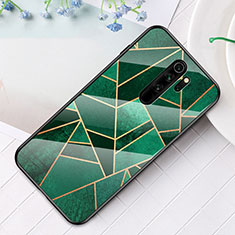 Silicone Frame Fashionable Pattern Mirror Case Cover S01 for Xiaomi Redmi Note 8 Pro Green