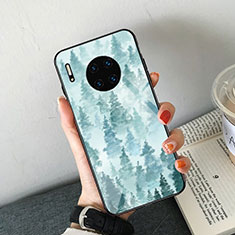Silicone Frame Fashionable Pattern Mirror Case Cover S02 for Huawei Mate 30 Sky Blue