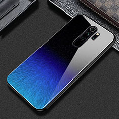 Silicone Frame Fashionable Pattern Mirror Case Cover S02 for Xiaomi Redmi Note 8 Pro Blue