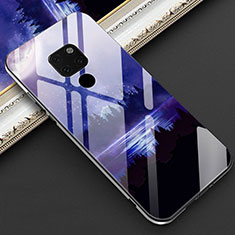 Silicone Frame Fashionable Pattern Mirror Case Cover Z01 for Huawei Mate 20 Blue
