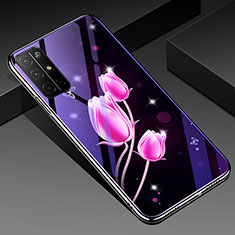 Silicone Frame Flowers Mirror Case Cover for Huawei Honor 30S Pink