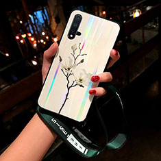 Silicone Frame Flowers Mirror Case Cover for Huawei Nova 5 White