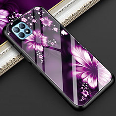 Silicone Frame Flowers Mirror Case Cover for Oppo Reno4 SE 5G Purple