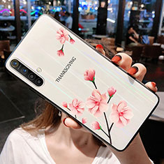 Silicone Frame Flowers Mirror Case Cover for Realme X3 SuperZoom Pink