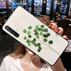 Silicone Frame Flowers Mirror Case Cover for Realme X50m 5G Green