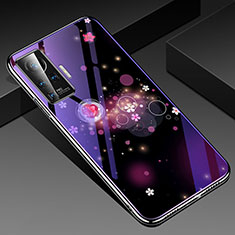 Silicone Frame Flowers Mirror Case Cover for Vivo X51 5G Purple
