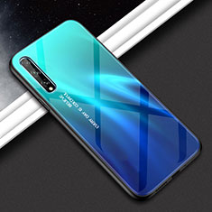 Silicone Frame Mirror Case Cover for Huawei Enjoy 10S Cyan