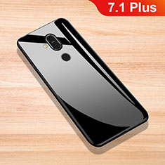 Silicone Frame Mirror Case Cover for Nokia 7.1 Plus Black
