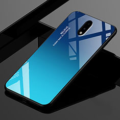 Silicone Frame Mirror Case Cover for OnePlus 7 Blue