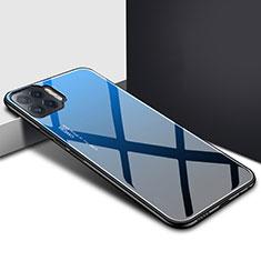 Silicone Frame Mirror Case Cover for Oppo Reno4 F Blue