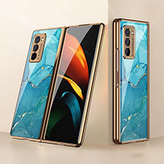 Silicone Frame Mirror Case Cover for Samsung Galaxy Z Fold2 5G Cyan