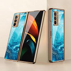 Silicone Frame Mirror Case Cover for Samsung Galaxy Z Fold2 5G Sky Blue