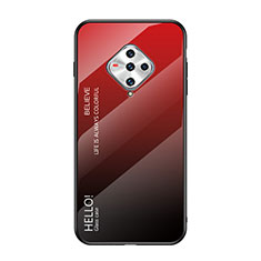 Silicone Frame Mirror Case Cover for Vivo X50e 5G Red