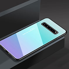 Silicone Frame Mirror Case Cover M01 for Samsung Galaxy S10 5G SM-G977B Sky Blue