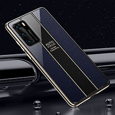 Silicone Frame Mirror Case Cover T03 for Huawei P40 Blue