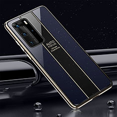 Silicone Frame Mirror Case Cover T04 for Huawei P40 Pro Blue