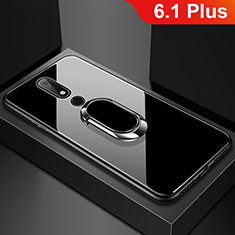 Silicone Frame Mirror Case Cover with Finger Ring Stand for Nokia 6.1 Plus Black