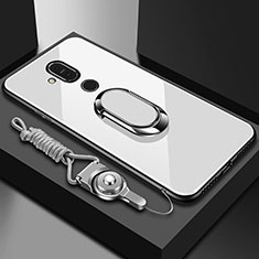 Silicone Frame Mirror Case Cover with Finger Ring Stand for Nokia 7.1 Plus White