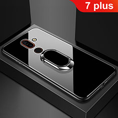 Silicone Frame Mirror Case Cover with Finger Ring Stand for Nokia 7 Plus Black