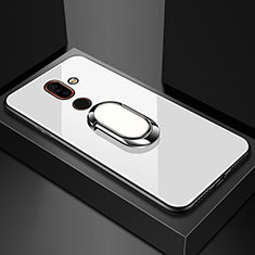 Silicone Frame Mirror Case Cover with Finger Ring Stand for Nokia 7 Plus White
