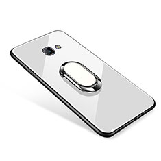 Silicone Frame Mirror Case Cover with Finger Ring Stand for Samsung Galaxy J7 Prime White