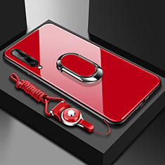 Silicone Frame Mirror Case Cover with Magnetic Finger Ring Stand for Huawei Enjoy 10S Red